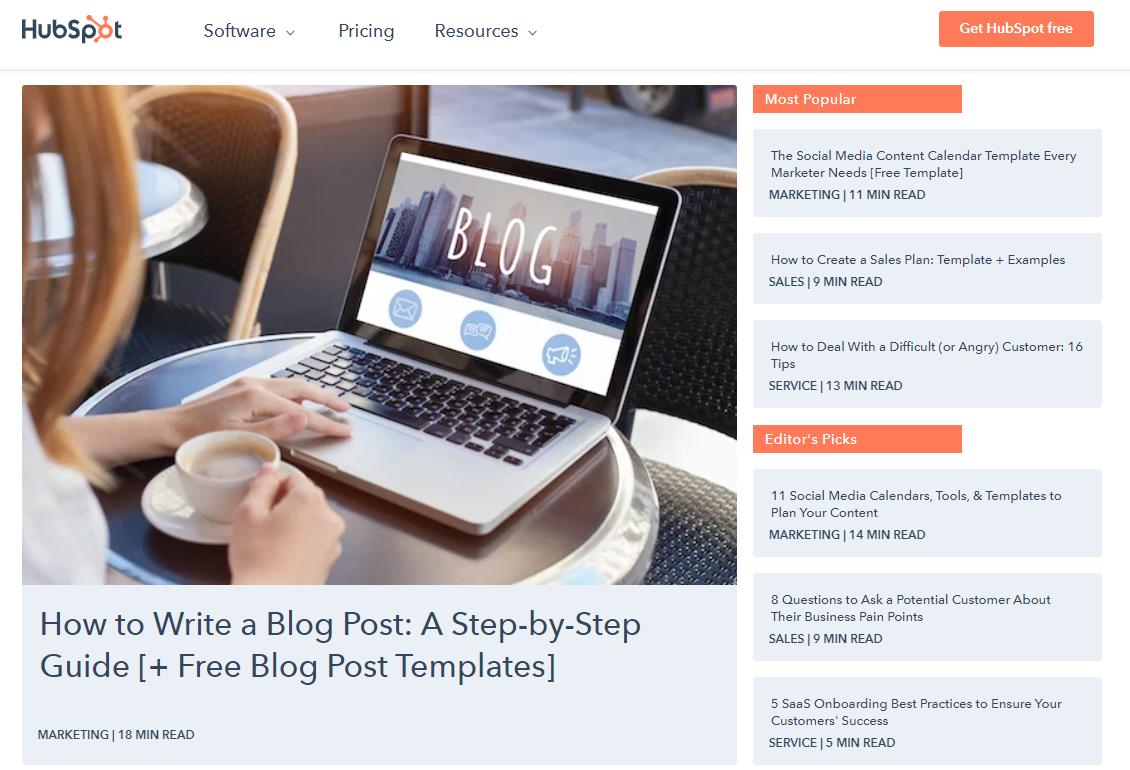 Hubspot is a giant in digital marketing and also offer great sales blogs on their site
