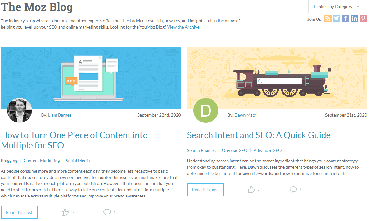 Get to learn everything about SEO by following the Moz Blog.