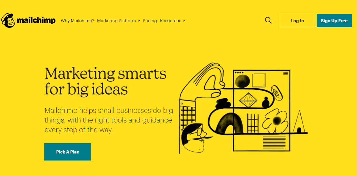 Printscreen of the homepage from Mailchimp, a great email marketing automation tool