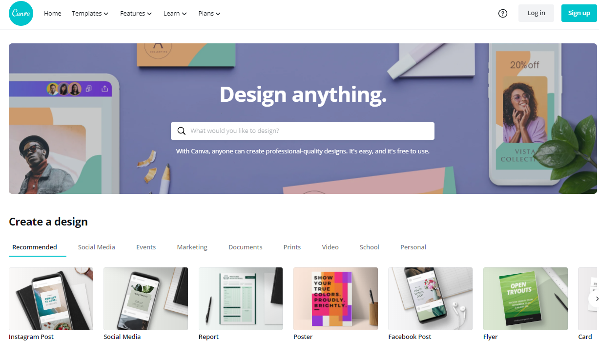 Screenshot of the homepage of Canva, a great tool to do your own designs.