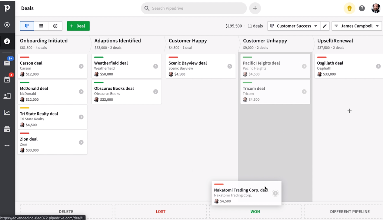 Screenshot of the pipedrive deal section where you can drag and drop deals through the pipeline