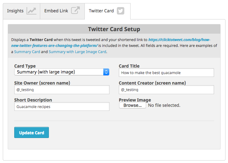 Create your own twitter card