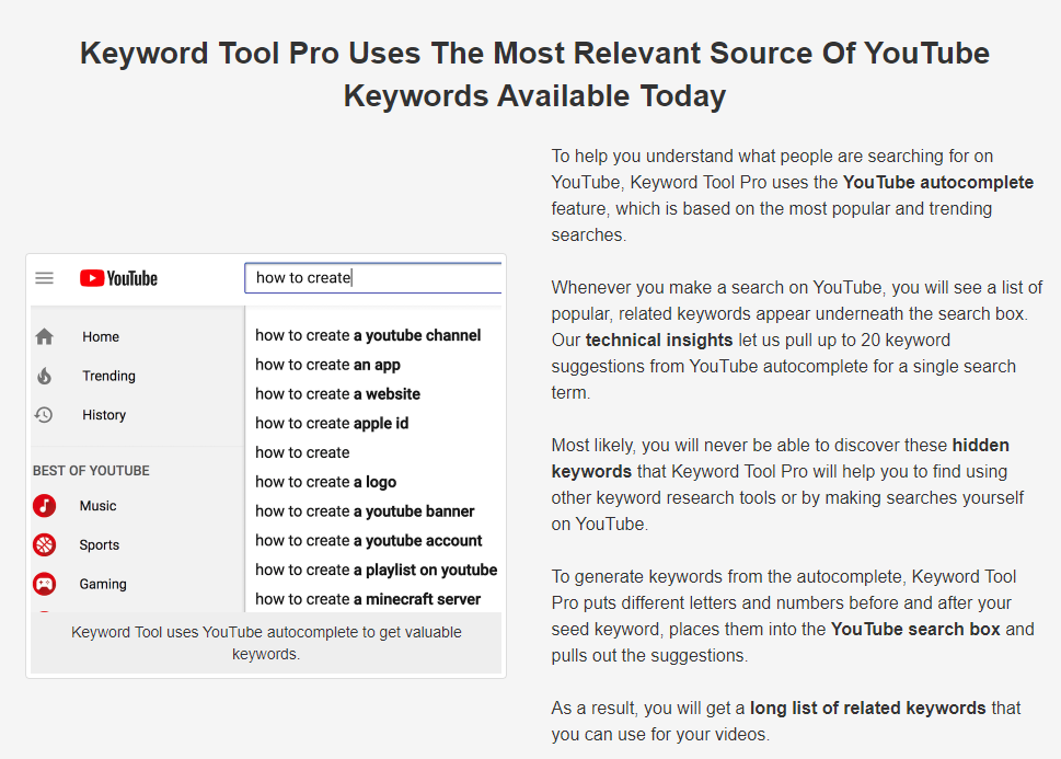 See the most relevant long tail keywords on Youtube within Keyword Tool Pro