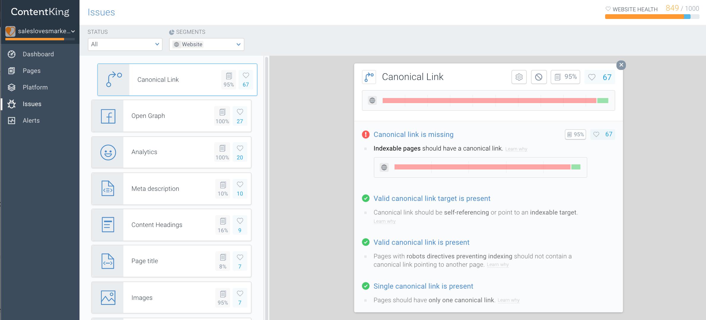 SEO ContentKing app on SalesLovesMarketing.co