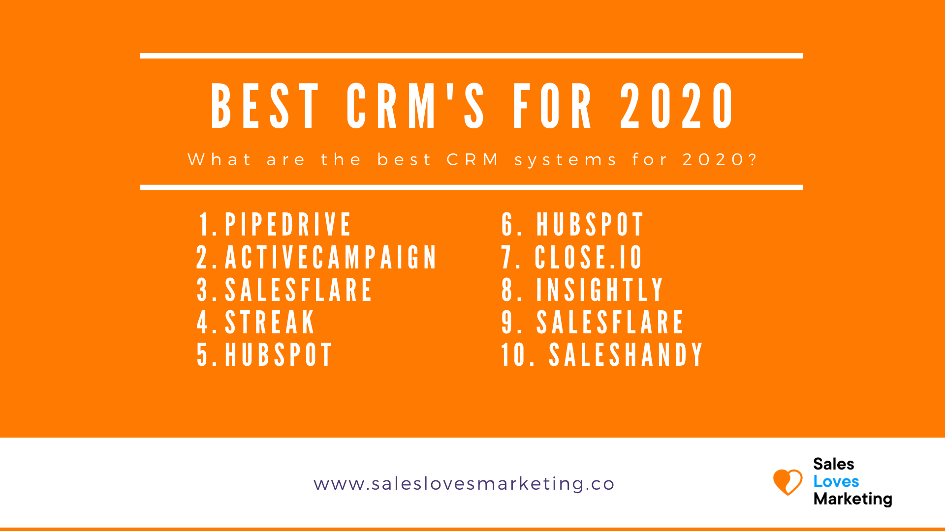 A list of the best CRM systems for Small And Medium businesses
