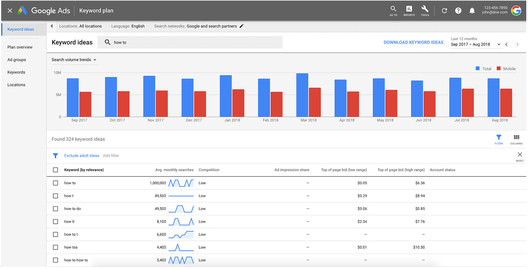 screenshot of how you can do keyword research via the Google Ads platform