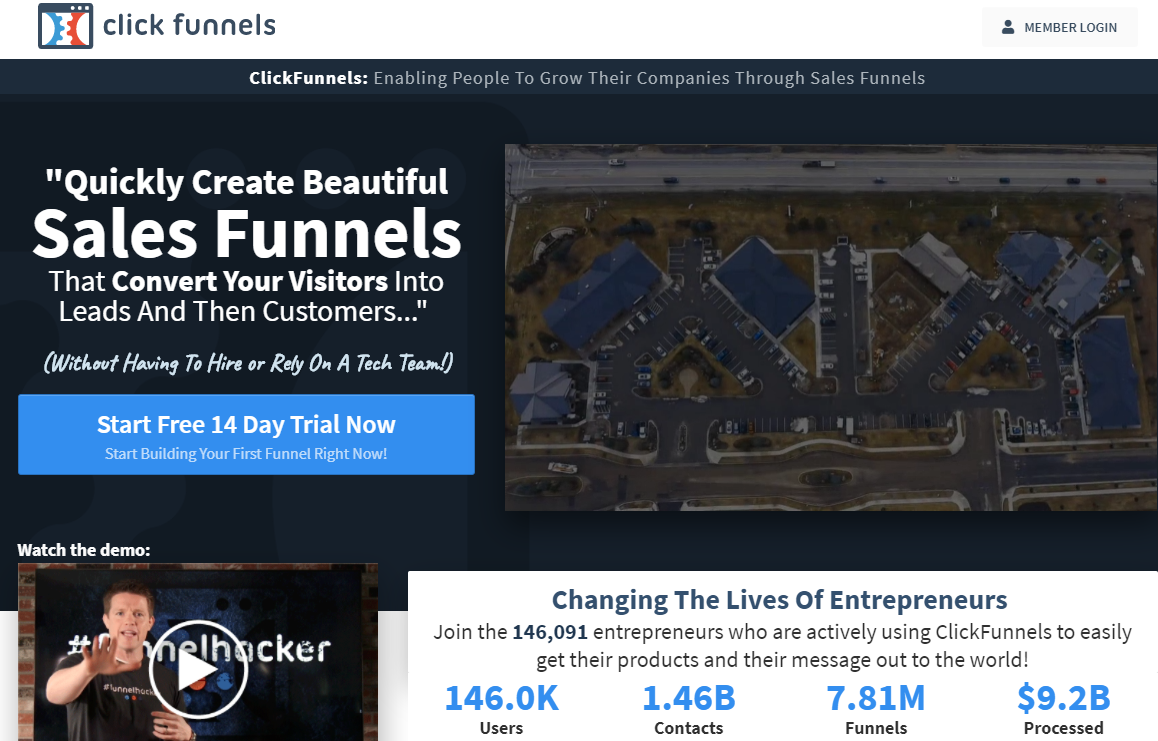 screenshot of the hompeage of clickfunnels, a tool where you can increase your website conversion