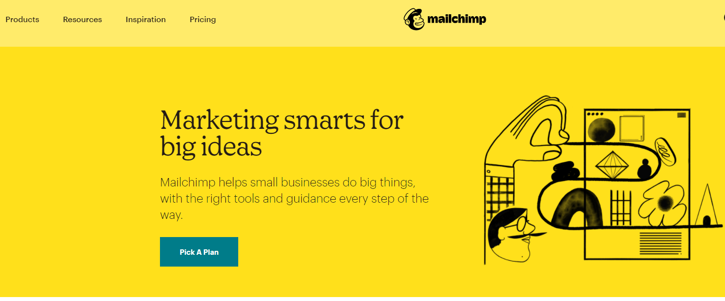 Mailchimp screenshot of the homepage, a marketing email tool and website builder