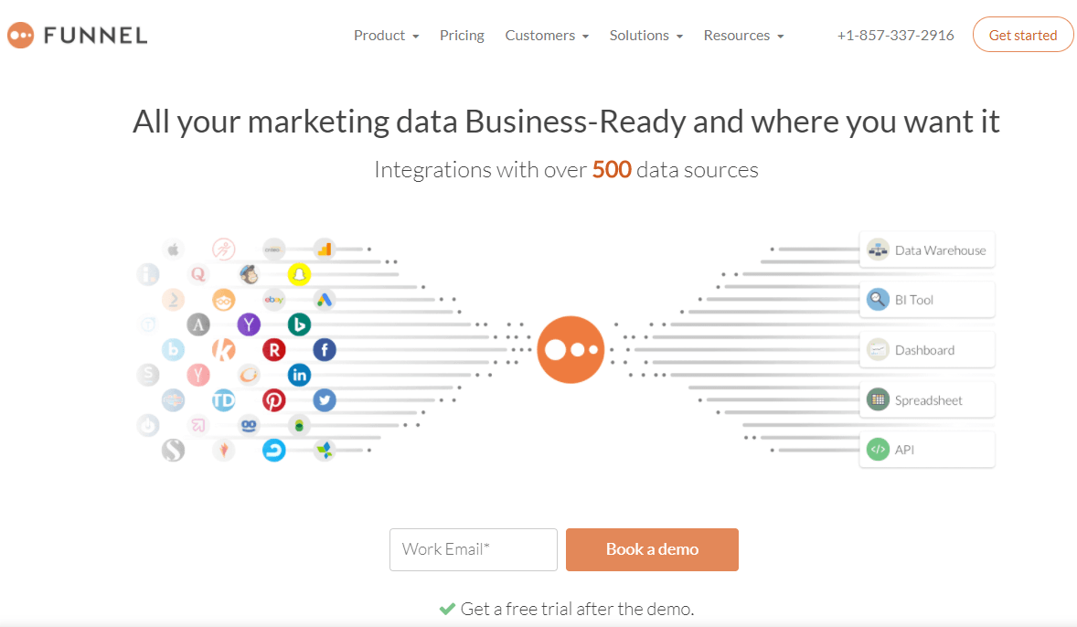 screenshot of the funnel.io homepage, a tool to combine all your data sources