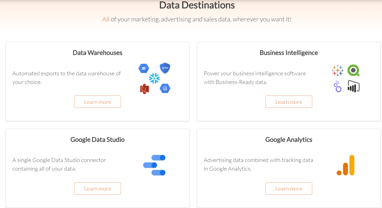 Funnel.io data destinations