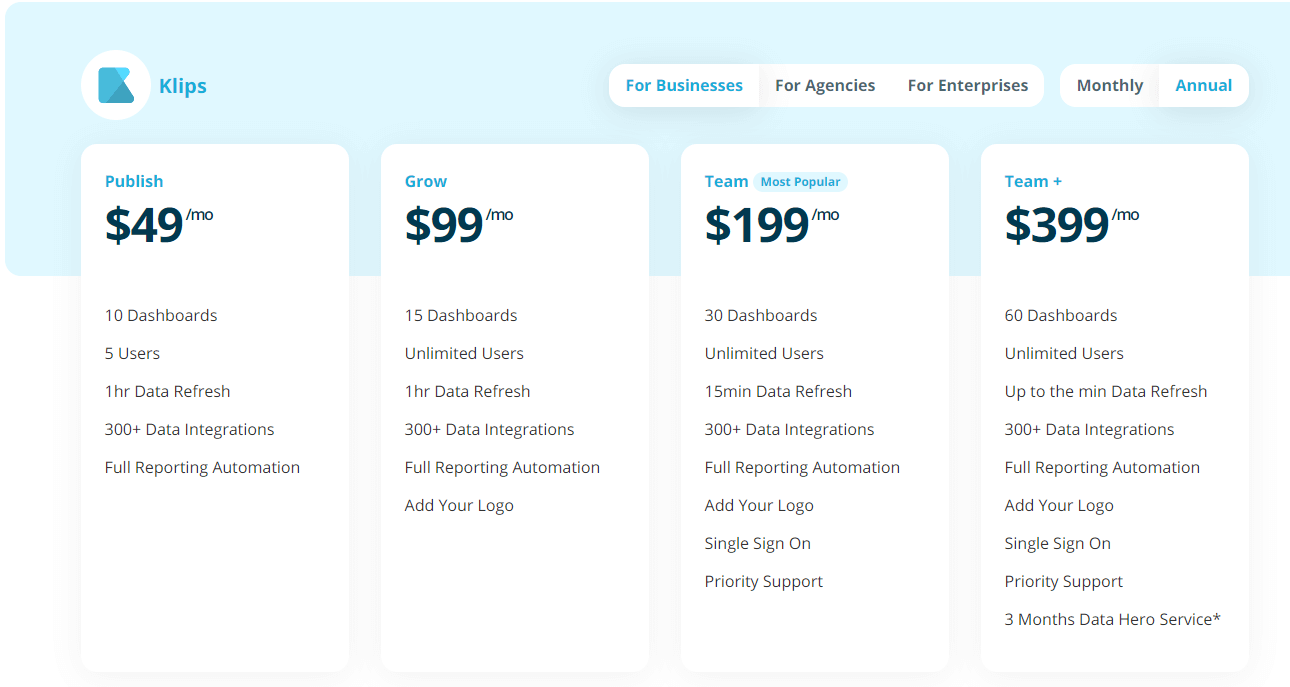 Kipfolio pricing, a supermetrics alternative