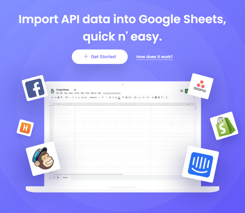 Import your data into google sheets using an API