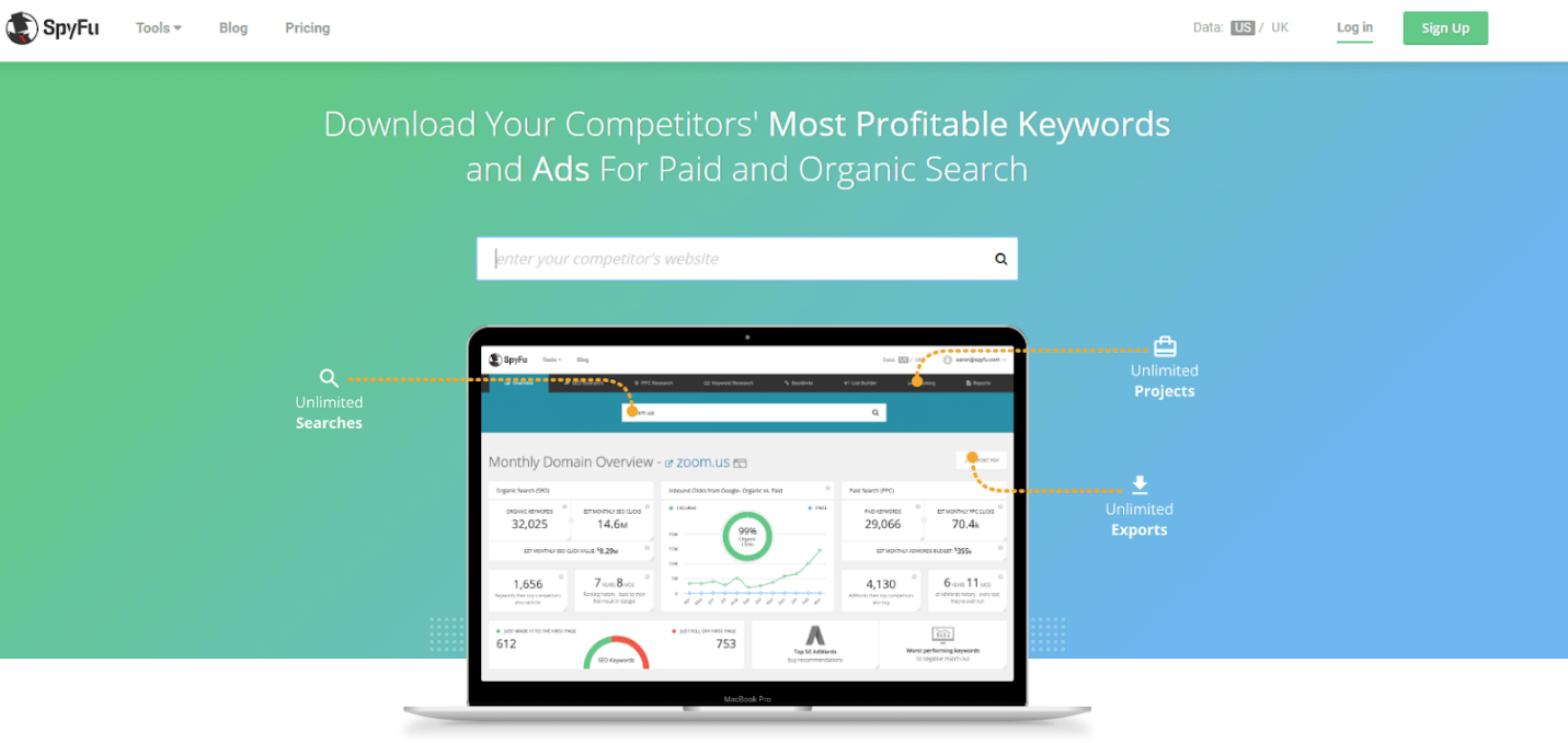 Get insights your competitors marketing strategy by revealing their profitable keywords, ads and organic search results.