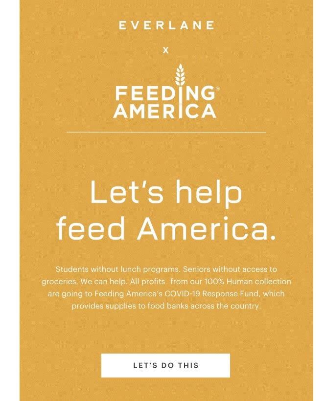 screenshot of an email from everlane, feeding america