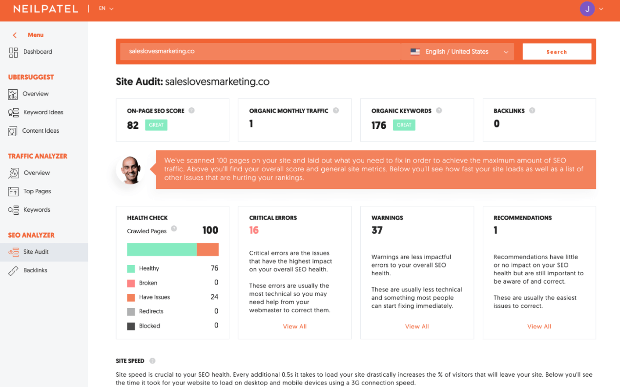 Ubersuggest is a great tool for doing a site audit.