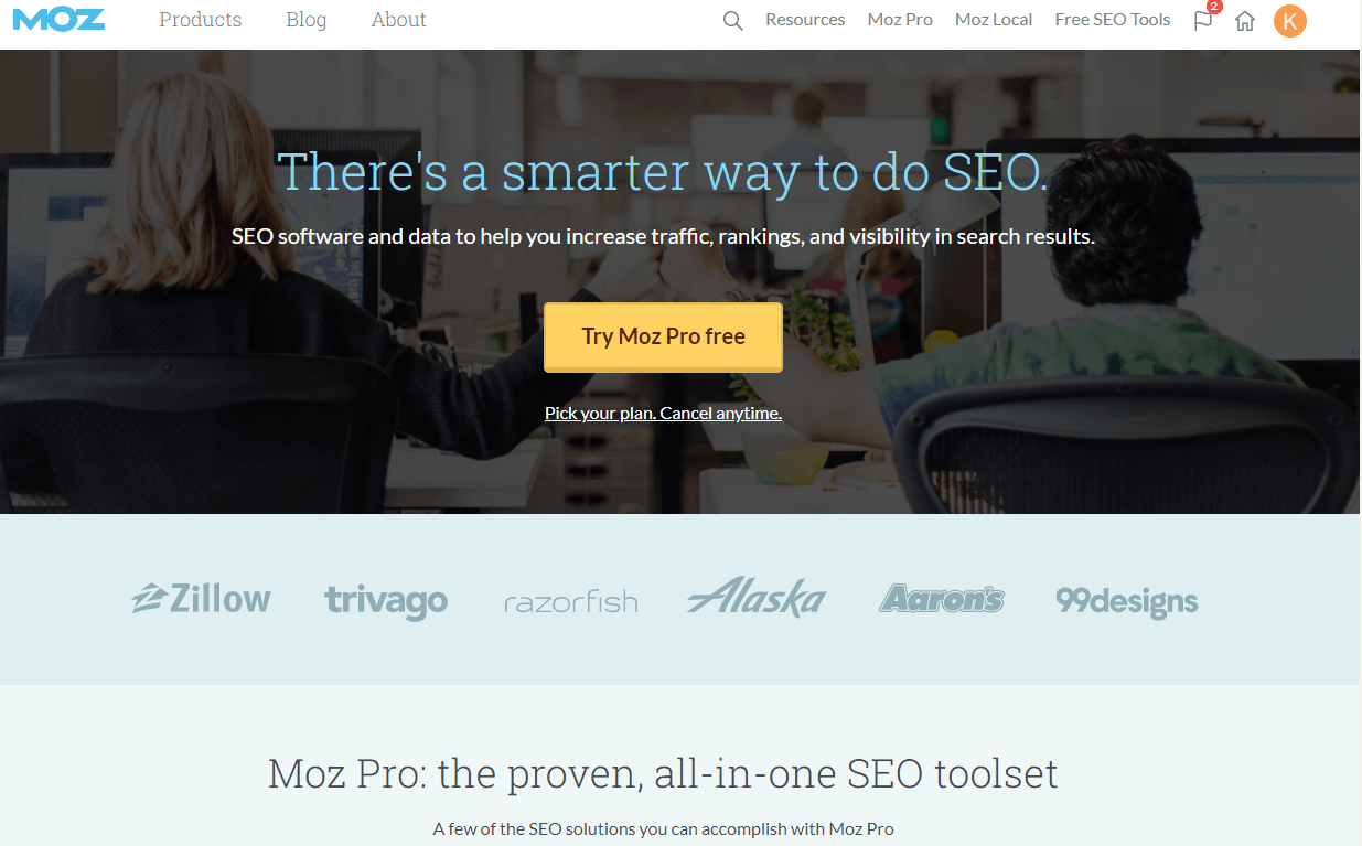 Screenshot of the homepage of Moz, the tool which can help you with everything to do with SEO