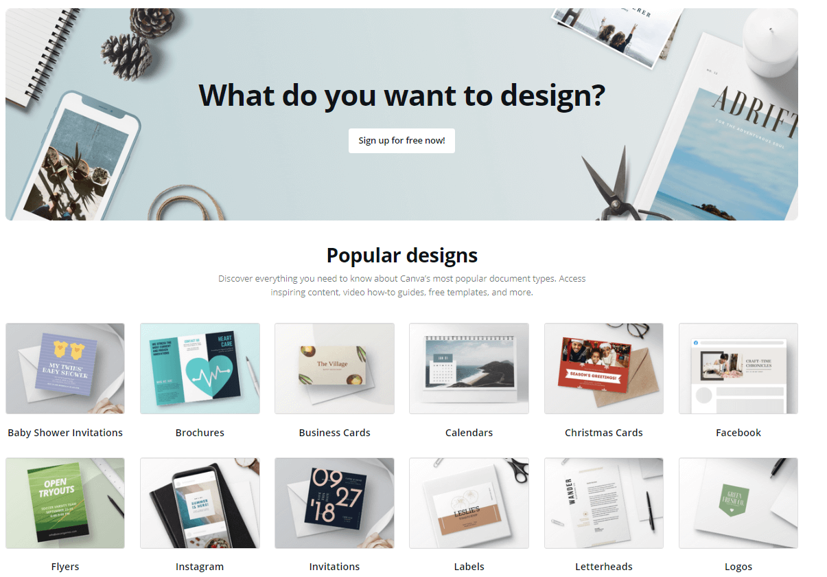 Screenshot from the homepage of Canva, a design tool which offers a free version