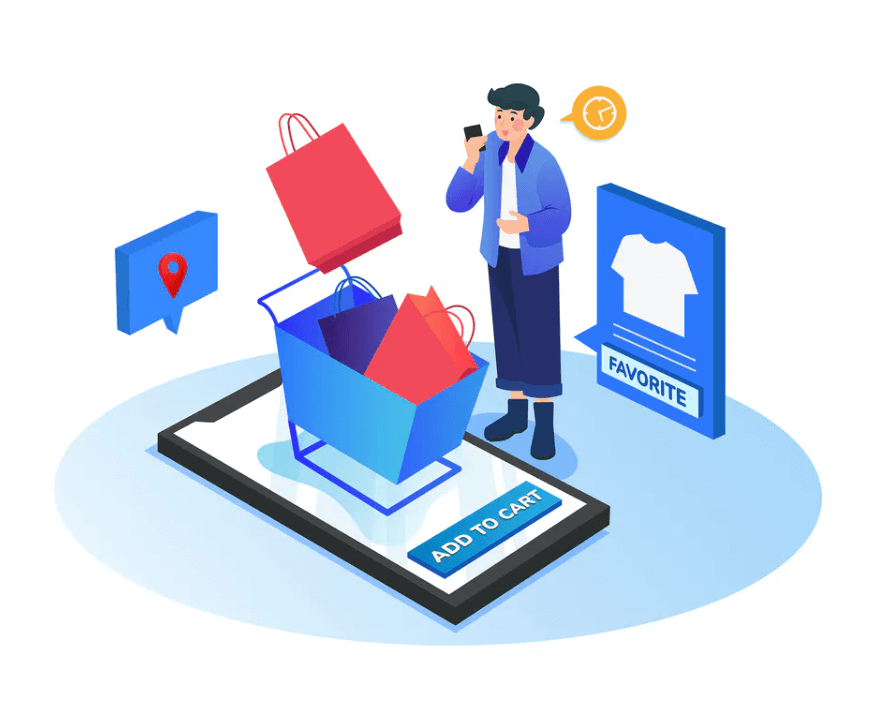 E-commerce example where someone puts something in their digital cart