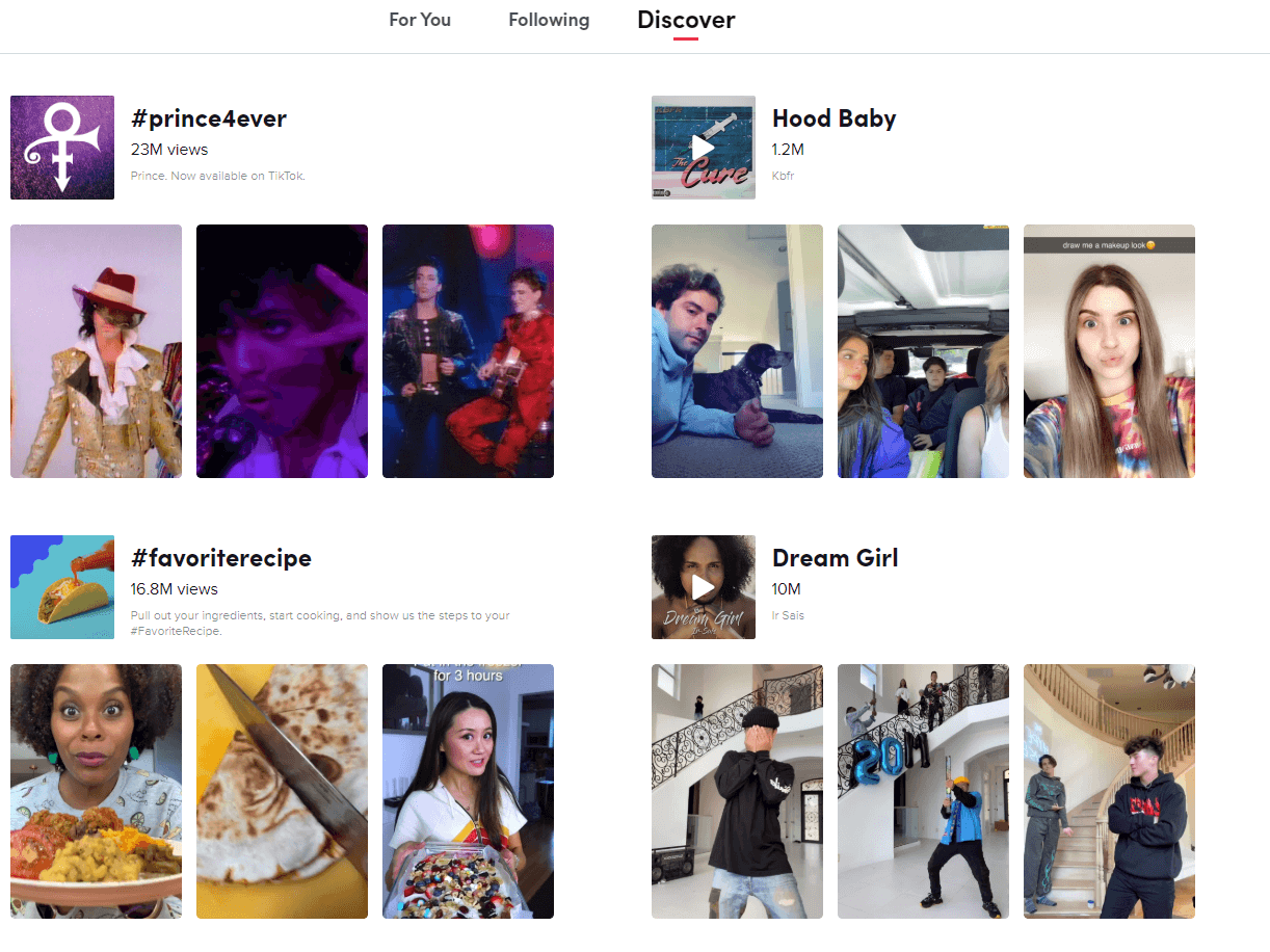 Find new content in the tiktok app by going to the discover section