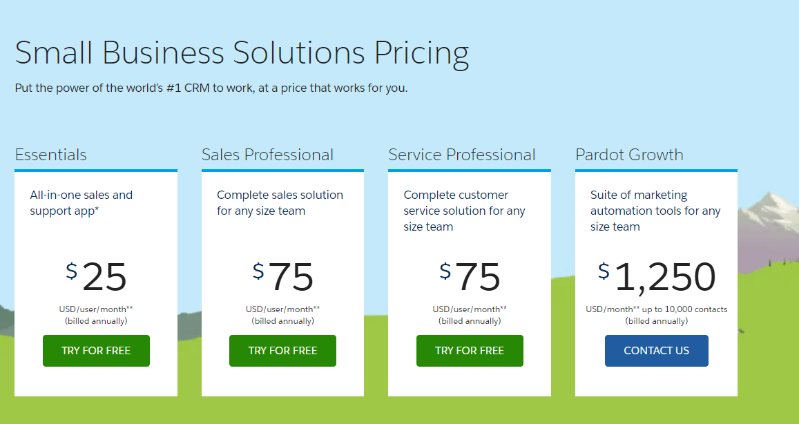 Salesforce pricing options
