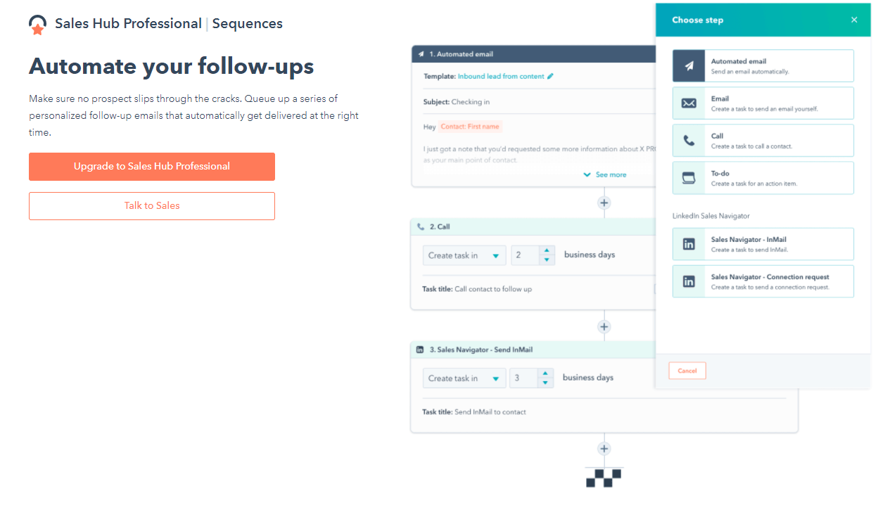 With Hubspot Sales Hub you can create automated email sequences to drive more sales