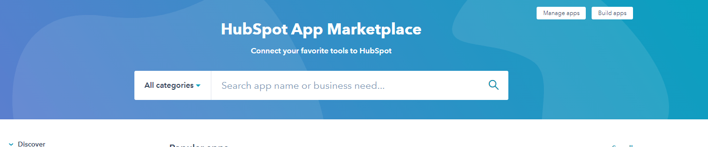 Connect your other tools with Hubspot via the marketplace