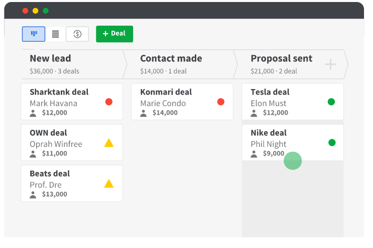 track all your deals easily within Pipedrive CRM, a kanban view