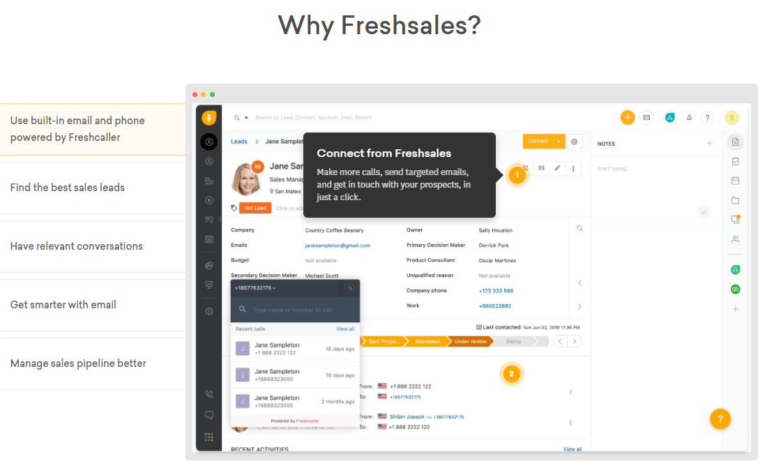 FreshSales features in one overview