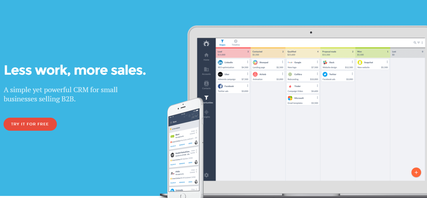 Salesflare is a great CRM system for smb businesses selling to other businesses