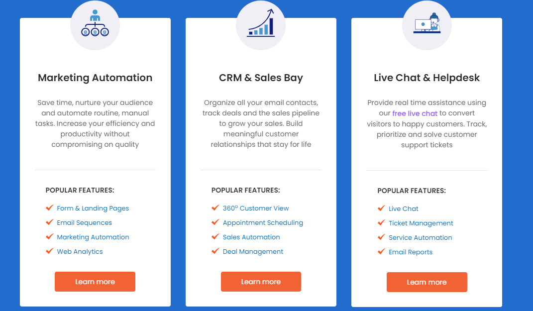 Engagebay offers everything for sales and marketing people; marketing automation, crm en support features