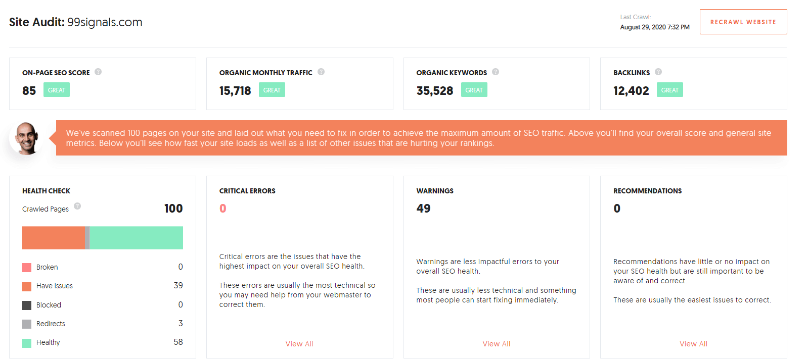 Perform a site audit with Ubersuggest