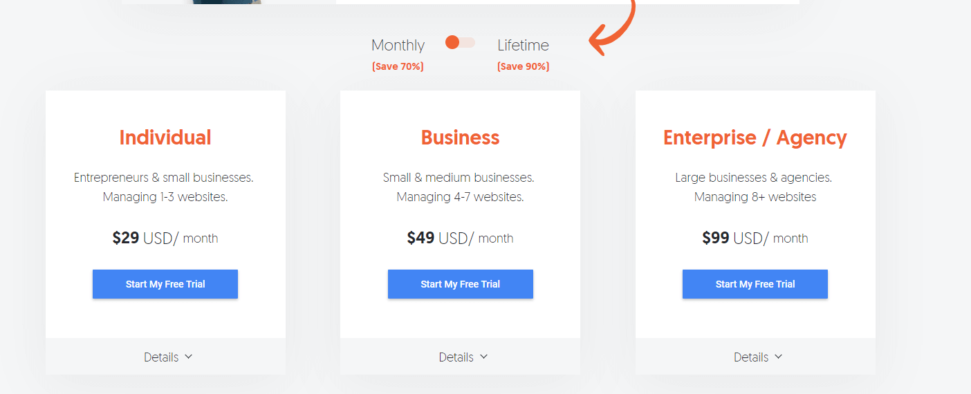 Overview of Ubersuggest pricing, they don't have a free plan anymore
