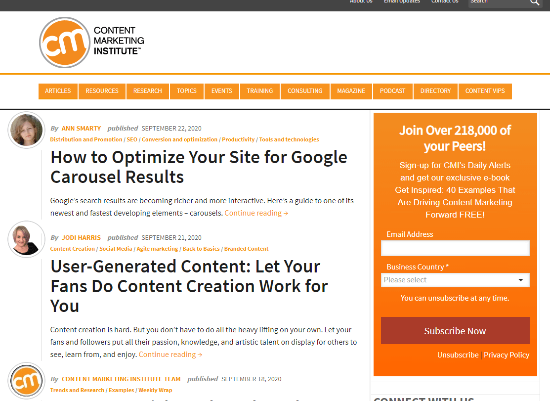 Content Marketing Institute is a great way get updates about anything related to marketing