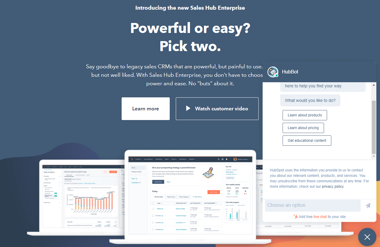 Hubspot homepage screenshot, it offers everything you need as a sales person or marketer needs in a small business