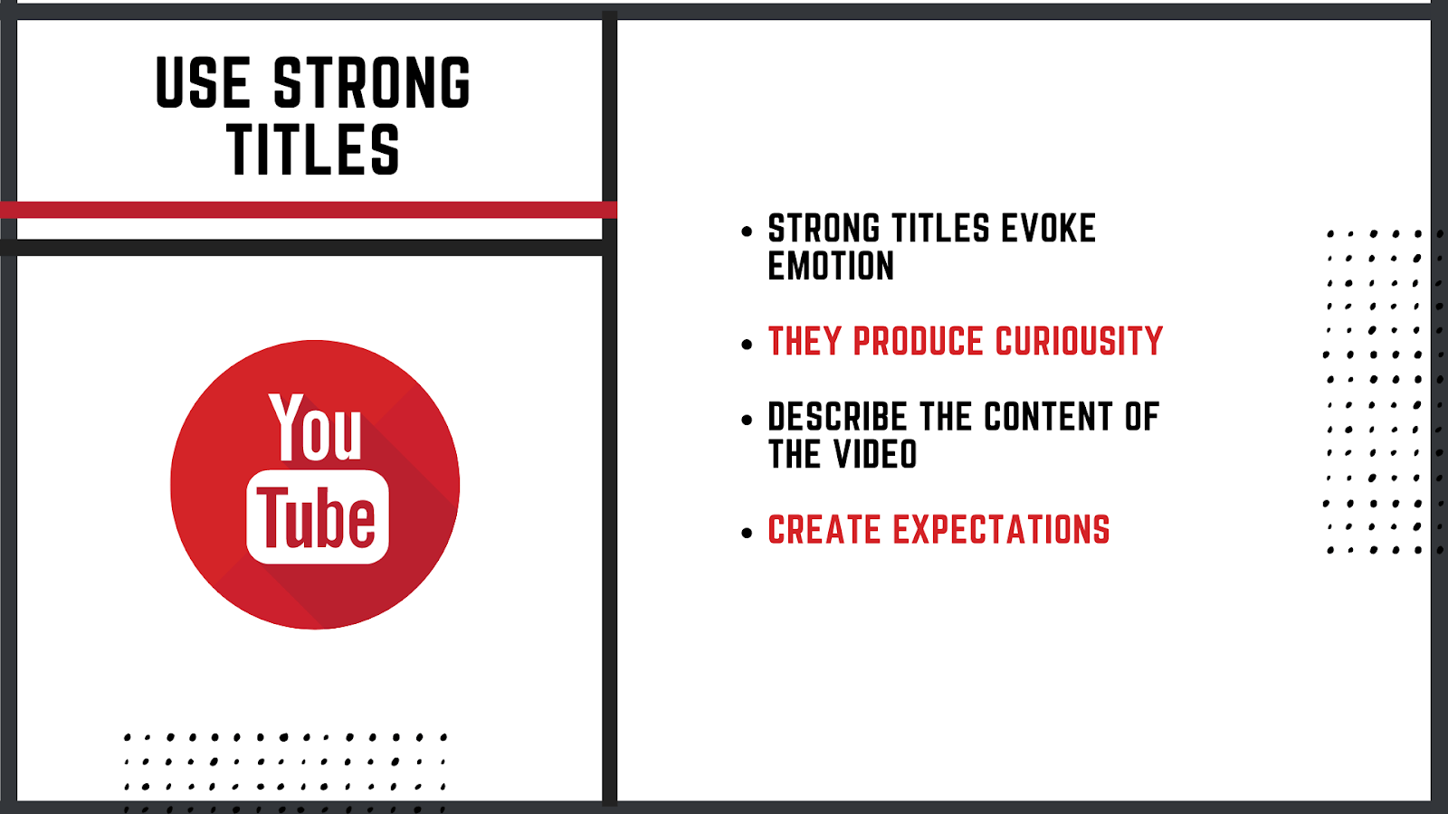 create strong titles for your Youtube videos to stand out more