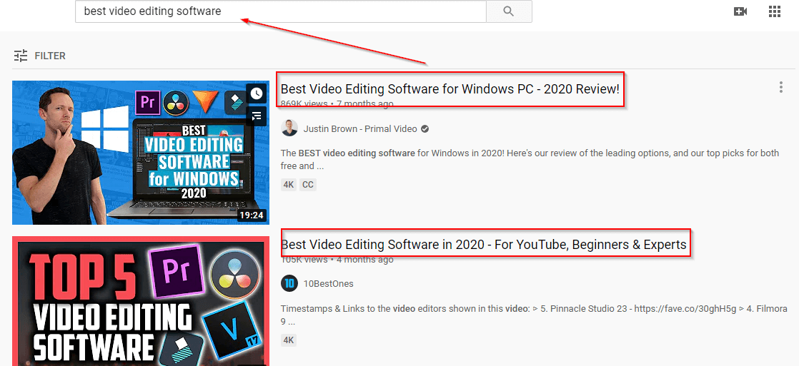 examples of strong youtube titles, screenshot of youtube search