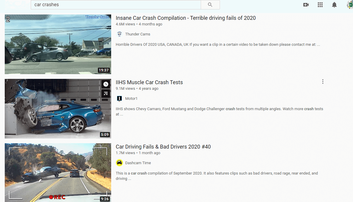 Youtube search on car crashes