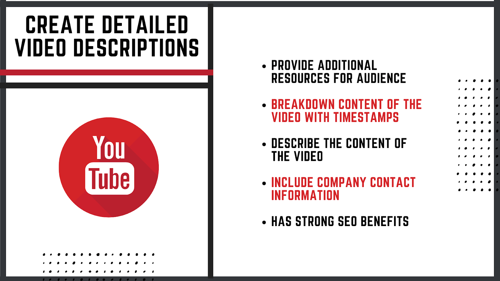 how to create detailed video descriptions for Youtube