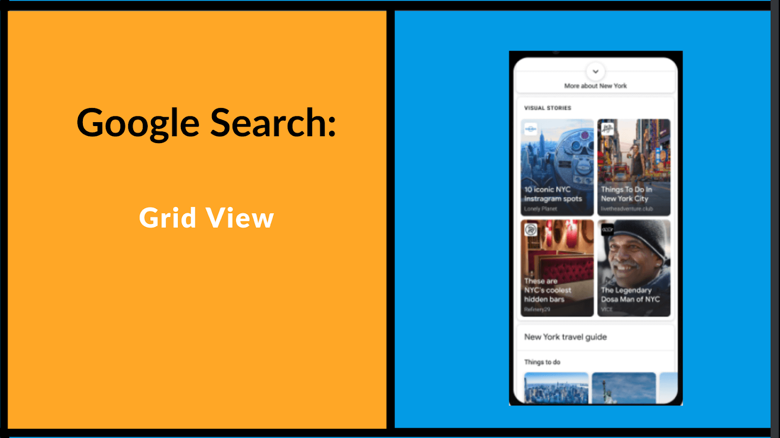 How Google Search looks like in a grid view, example on how it looks