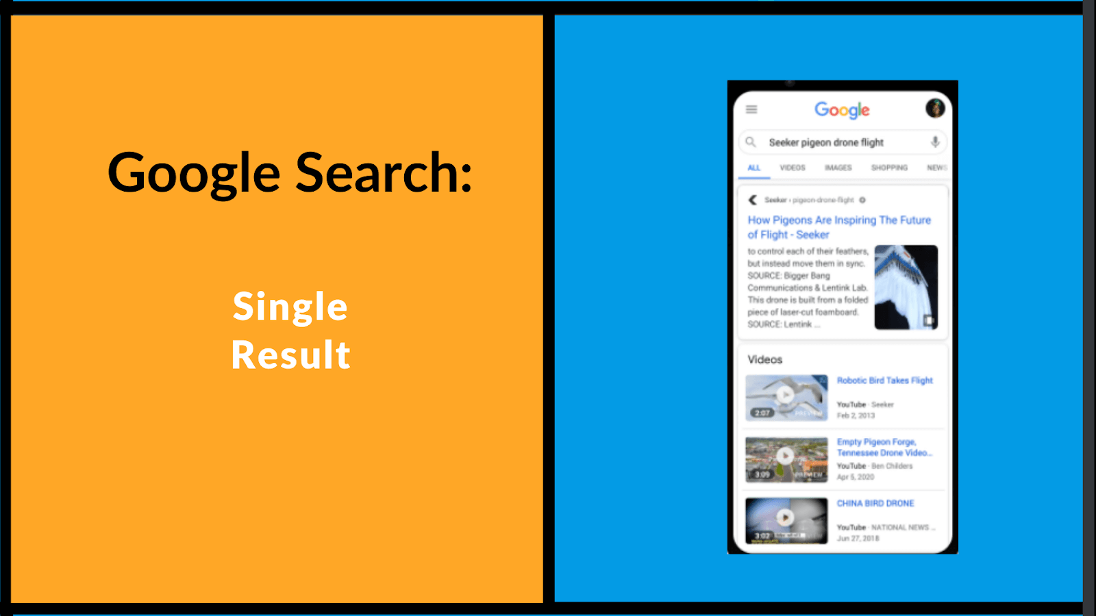 Google web stories within google search, as a single result