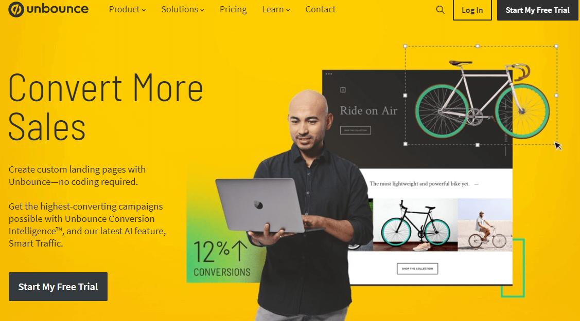 unbounce website screenshot, a great custom landing page builder