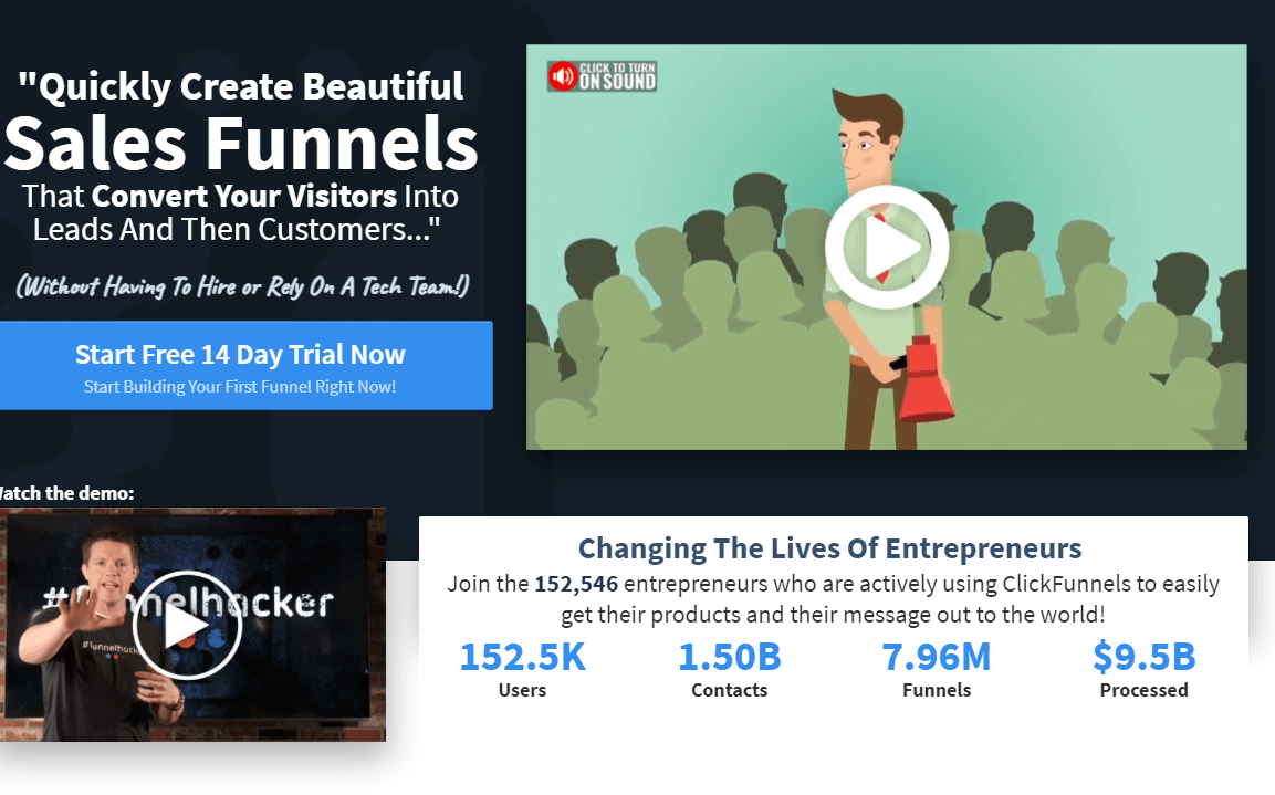 Clickfunnels homepage screenshot, a tool o turn visitors into leads and customers
