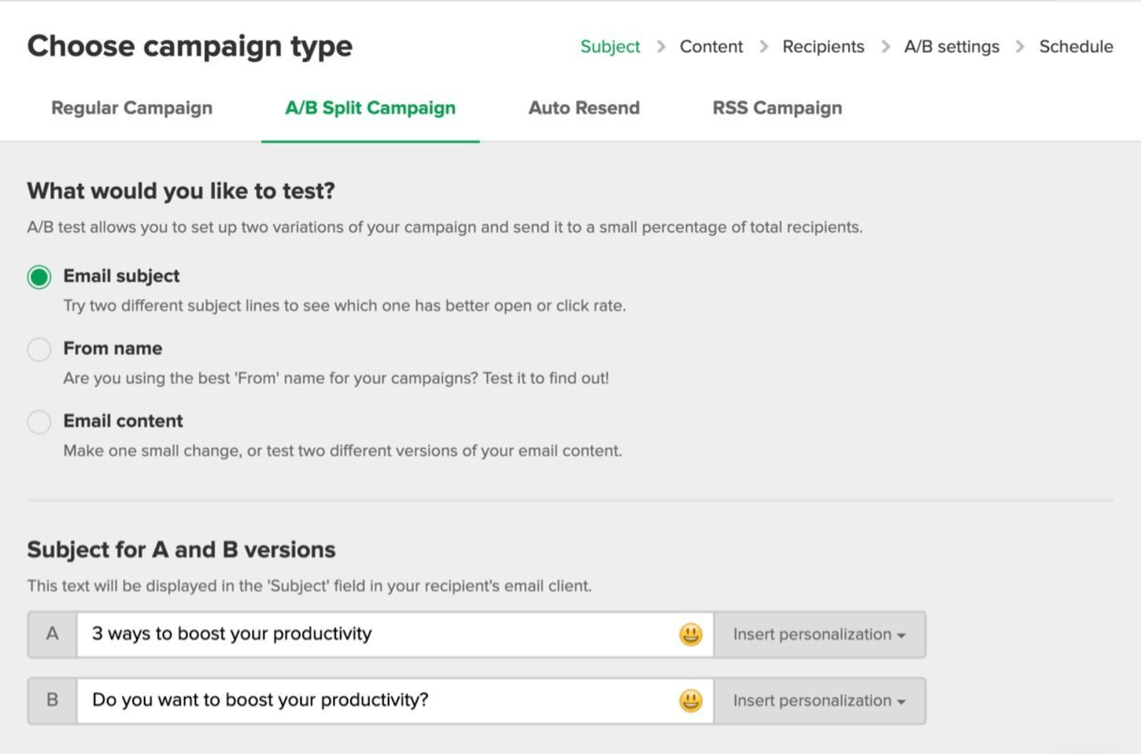 How to setup a a/b split campaign
