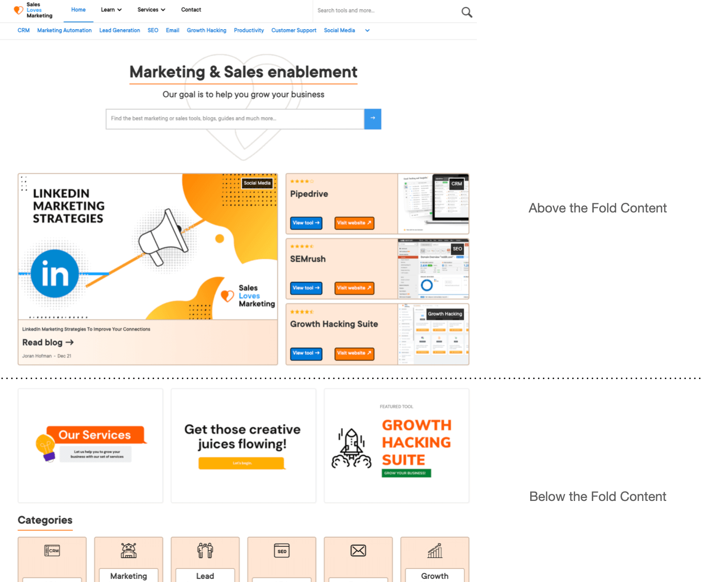example on above and below the fold content of a website