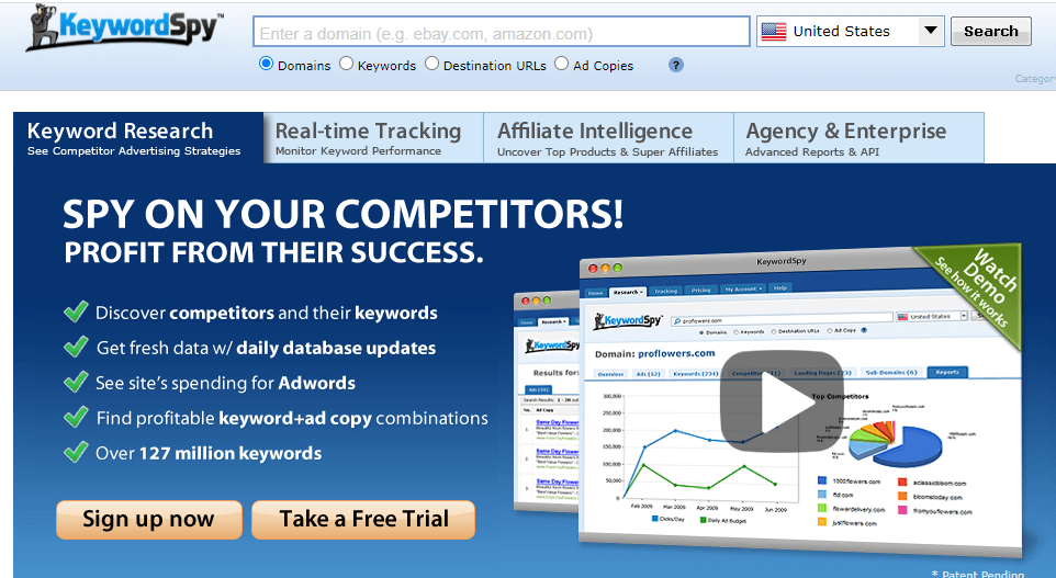 Spy on your competitors with keyword spy