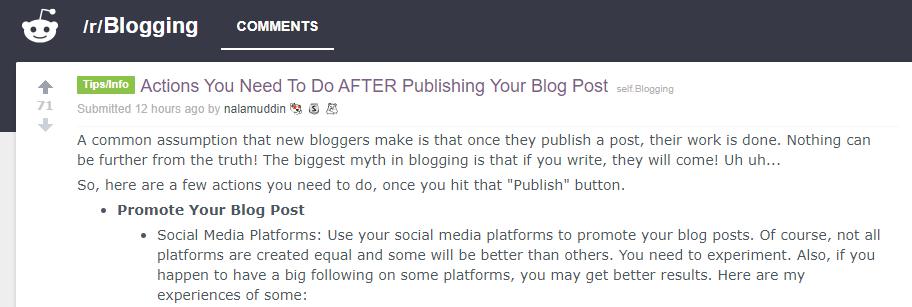 Reddit screenshot on what to do after posting a blog