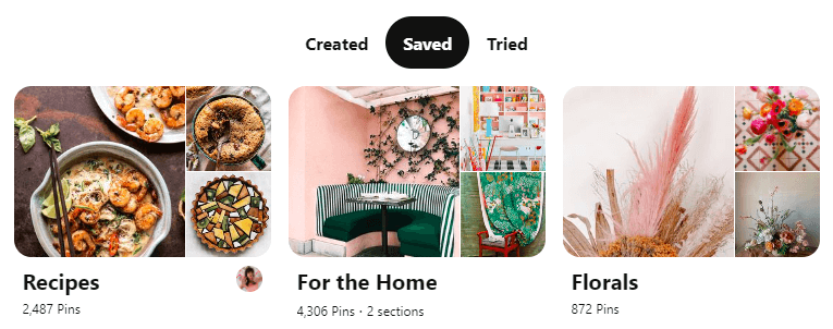 Create different pinterest board for different projecs