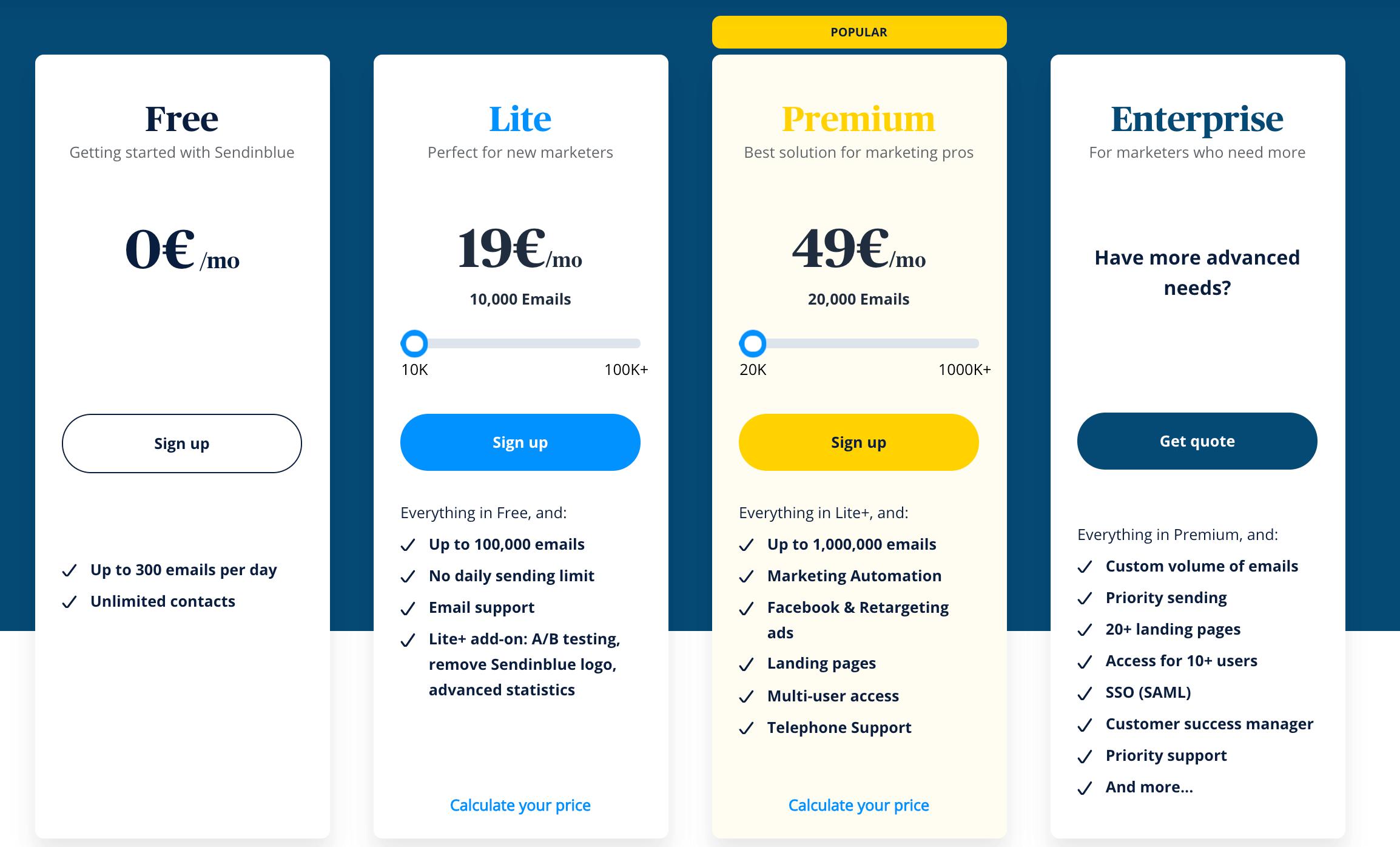 sendinblue pricing, a marketing automation tool