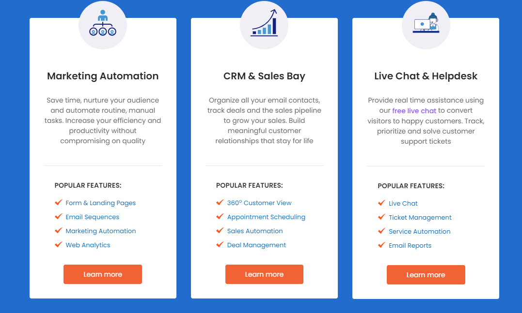 Overview of all features the marketing automation, crm and support tool engagebay has to offer
