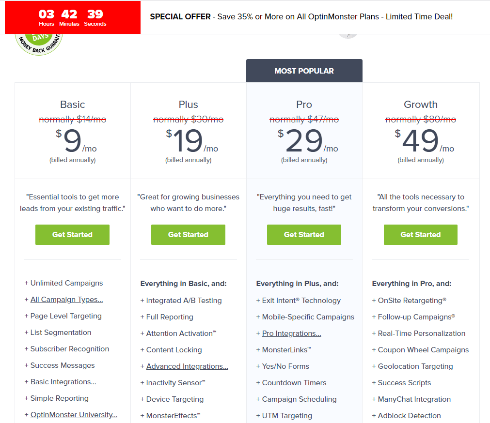 See an overview of the pricing from optinmonster, a marketing automation tool